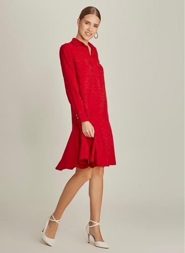 NGSTYLE Jakar Gömlek Elbise Kırmızı